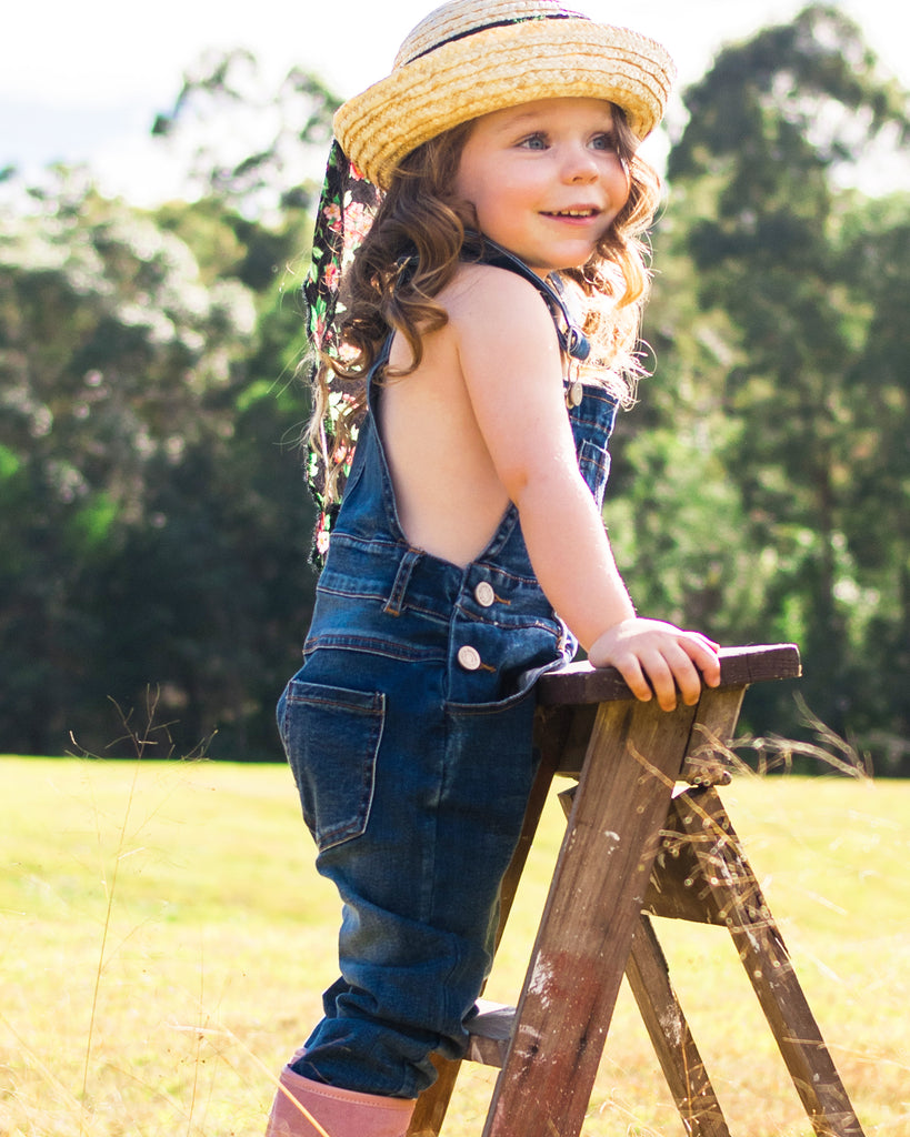 Denim Flare Overall on model