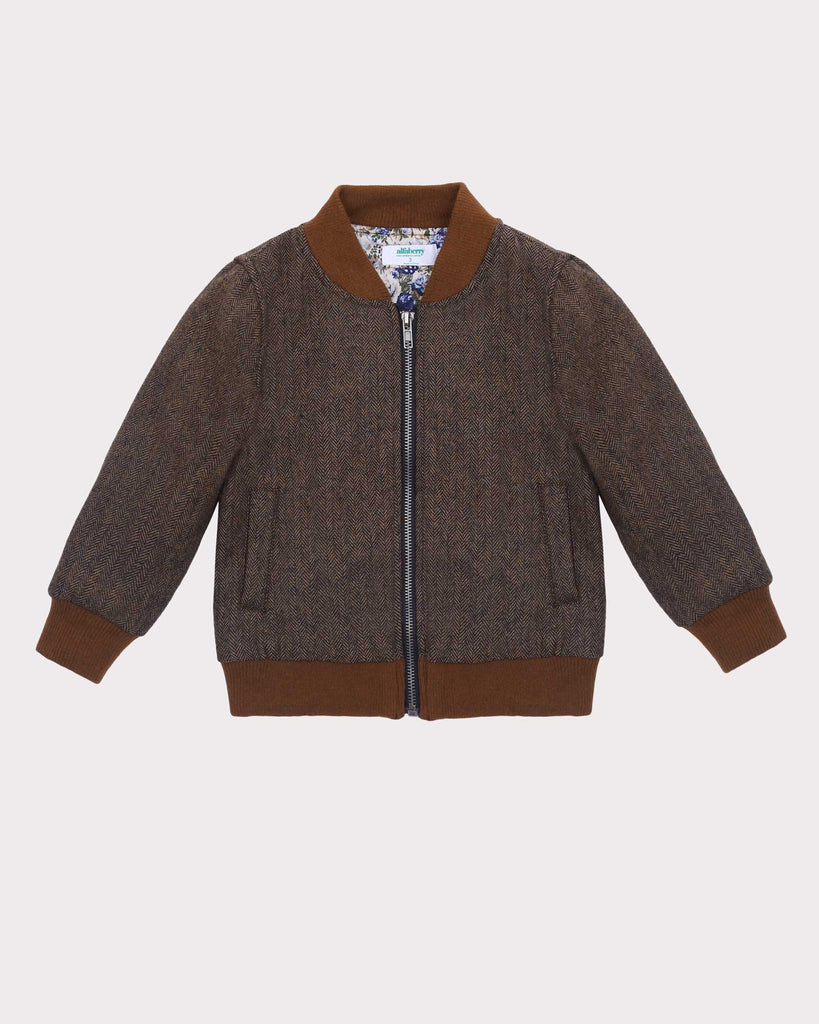 Hey You Herringbone Bomber Front