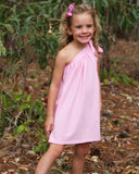 One Shoulder Dress Jersey - Pink on Model