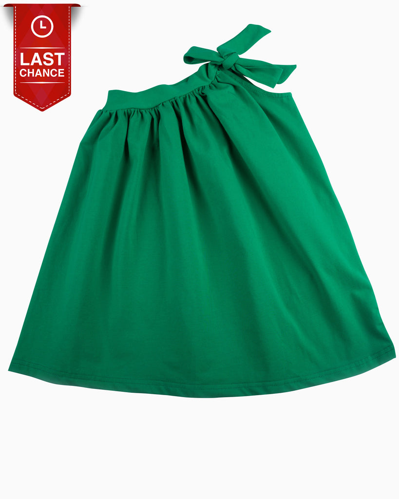 One Shoulder Jersey Dress Emerald Tied