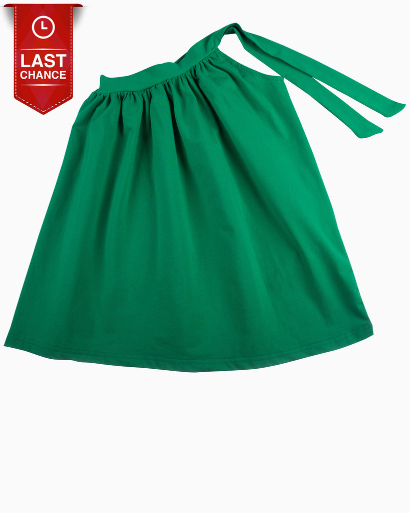 One Shoulder Jersey Dress Emerald Untied