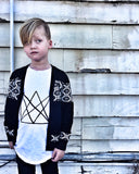 Patterned Cardigan Black on Model