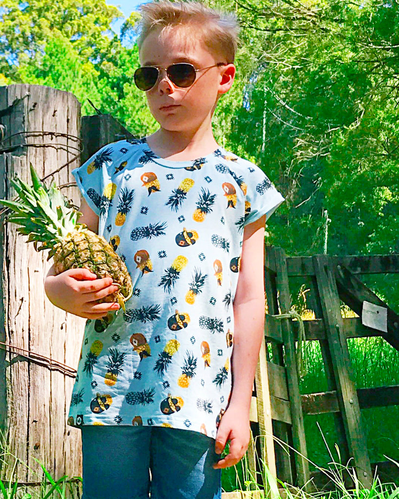 cool pineapple tee on model