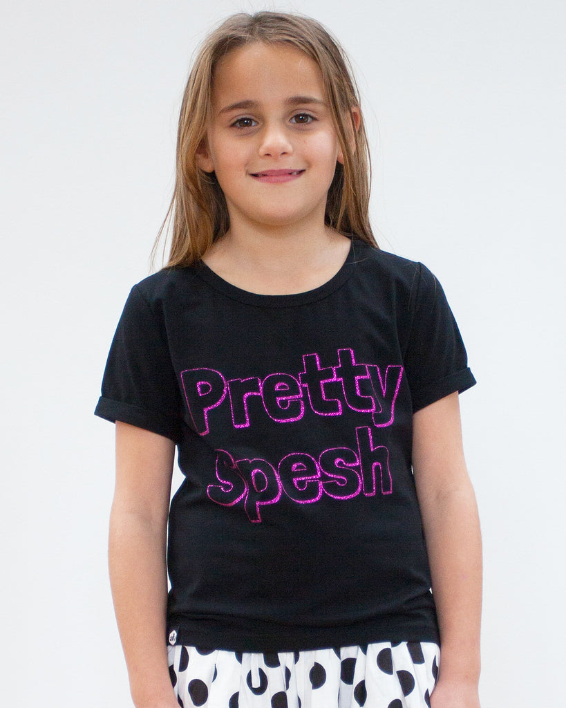 pretty spesh tee black on model