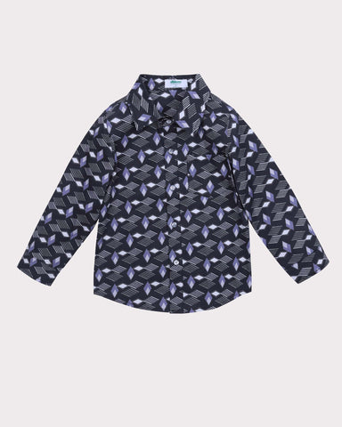 Pin Dot (coloured) Print Shirt in Blue