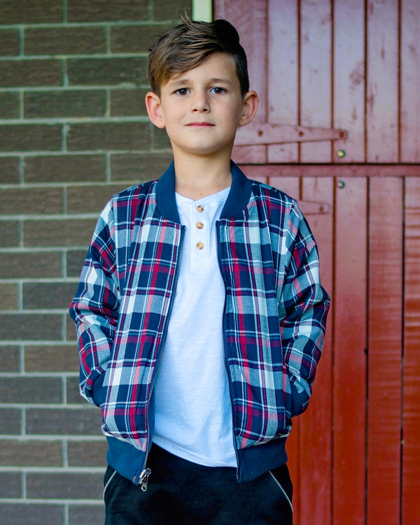 Reversible Denim and Tartan Bomber on Boy Model