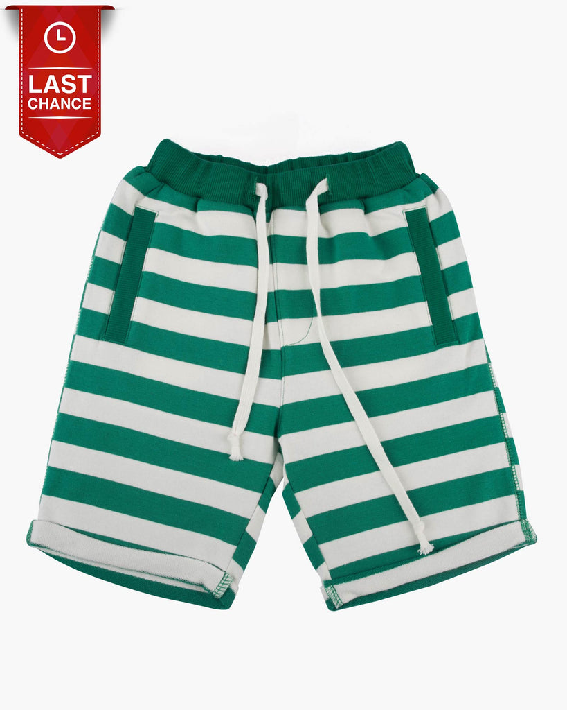 Trackie Short in Stripes green Front