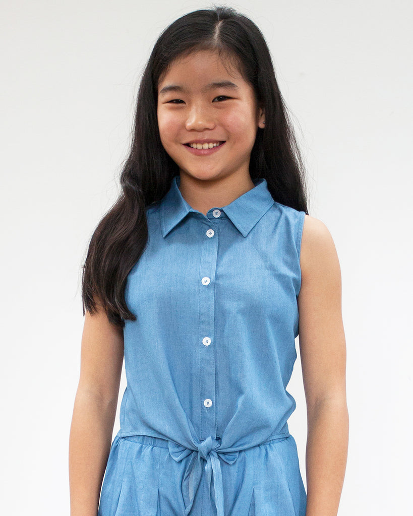 Tie Front Shirt Chambray on Model