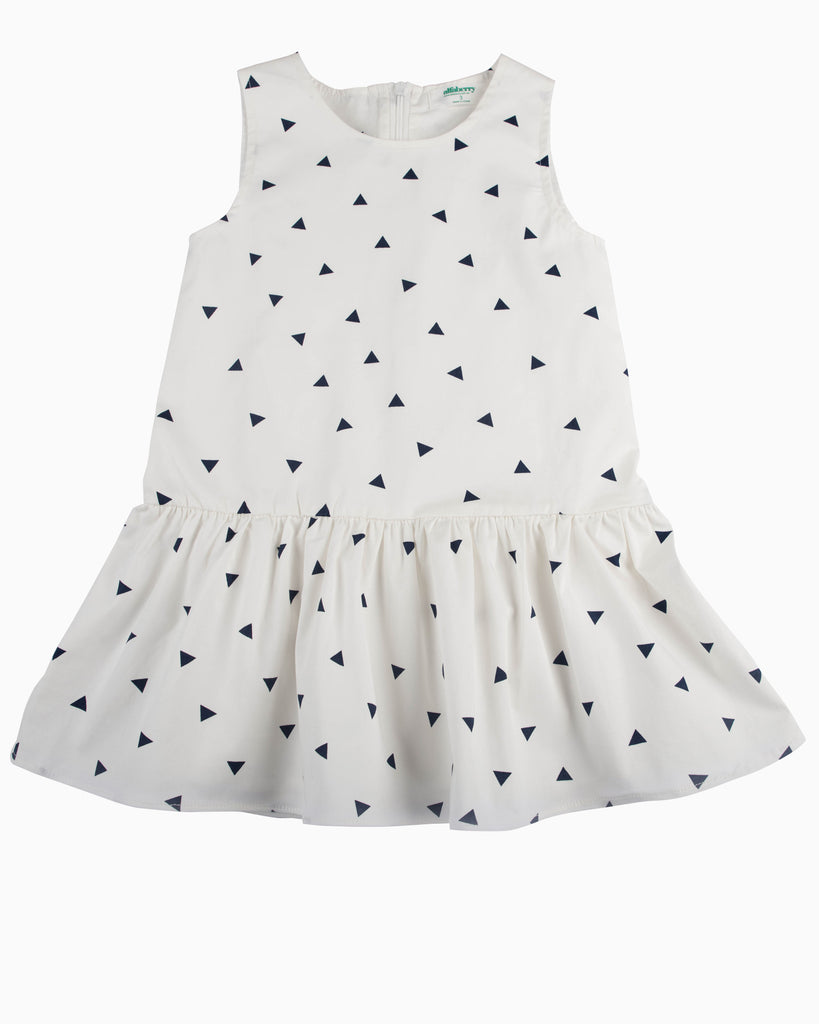 Triangle Confetti Drop Waist Dress white
