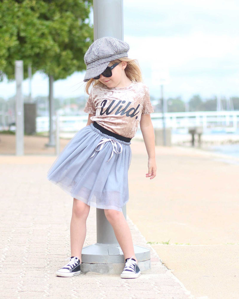 Gathered Tulle Skirt in Silver on model