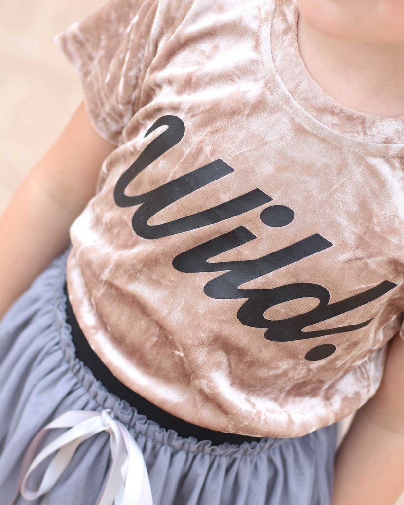 Wild Velvet Tee in Gold on model print detail