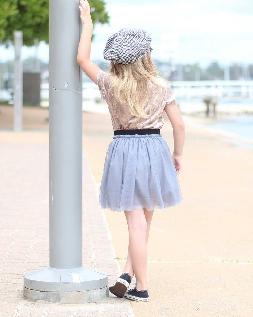 Gathered Tulle Skirt in Silver on model back shot