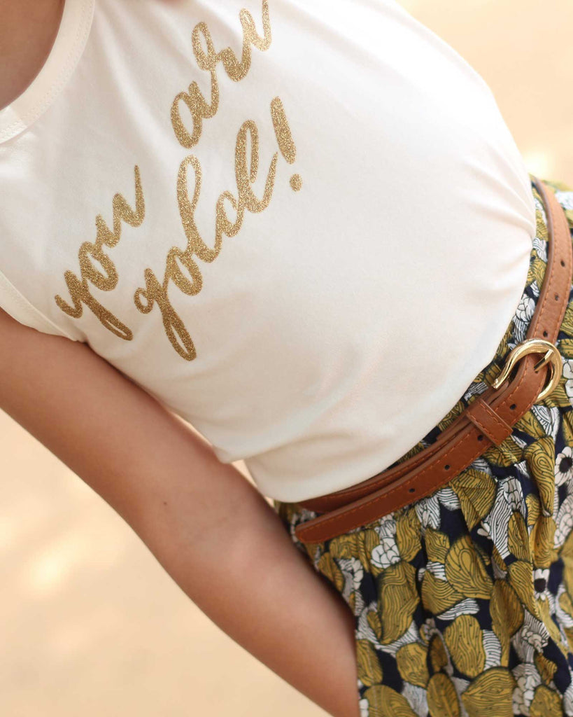 Your Are Gold Tee in Coconut on model print detail