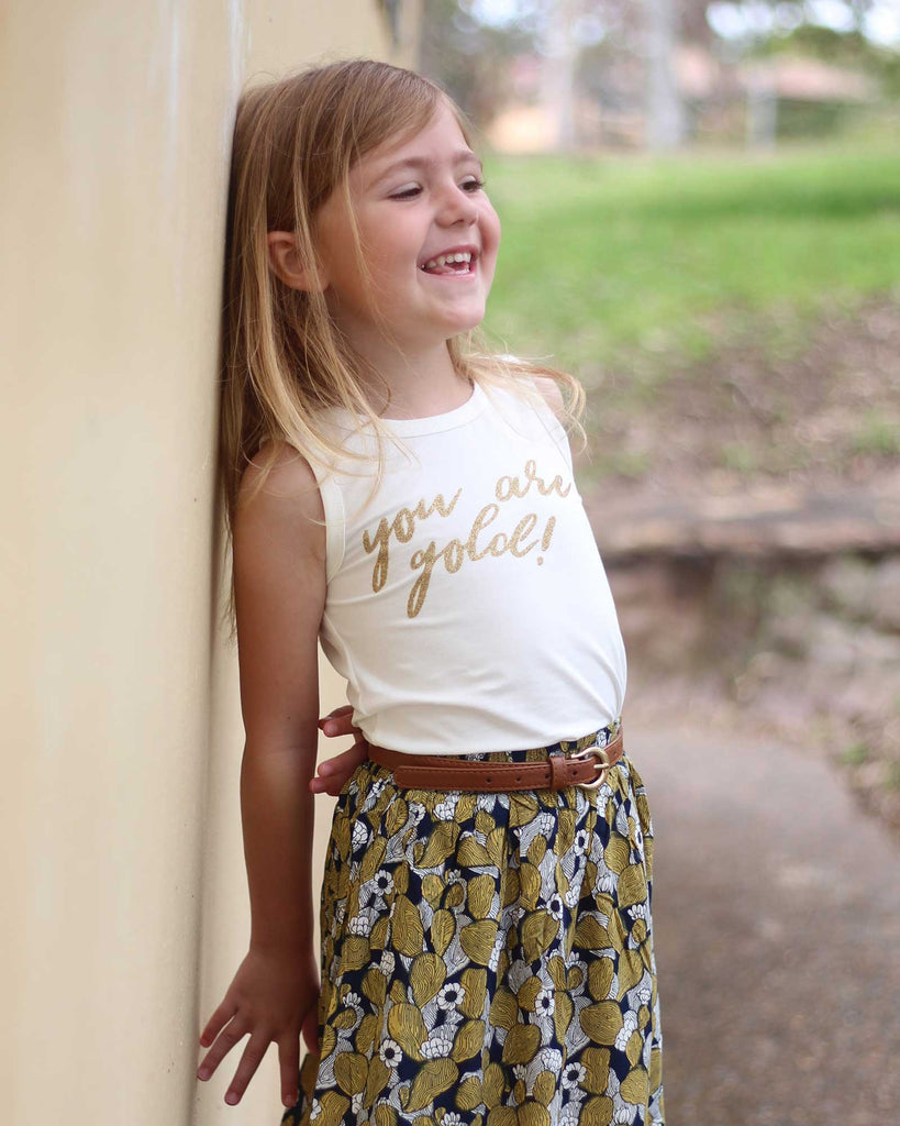 Your Are Gold Tee in Coconut on model