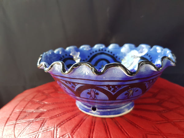 Blue 'M'tweya' White Fluted Bowl 'Small'