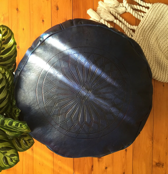 Leather Pouffe - Royal Blue