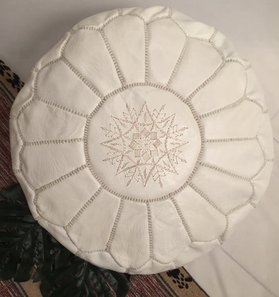 Moroccan Leather Pouffe - White