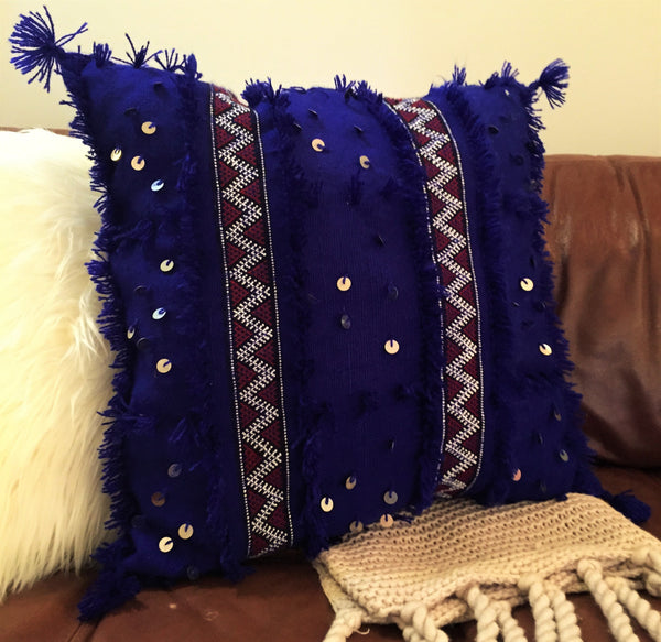 """M'khada"" Handira Wool Cushion - Royal Blue"
