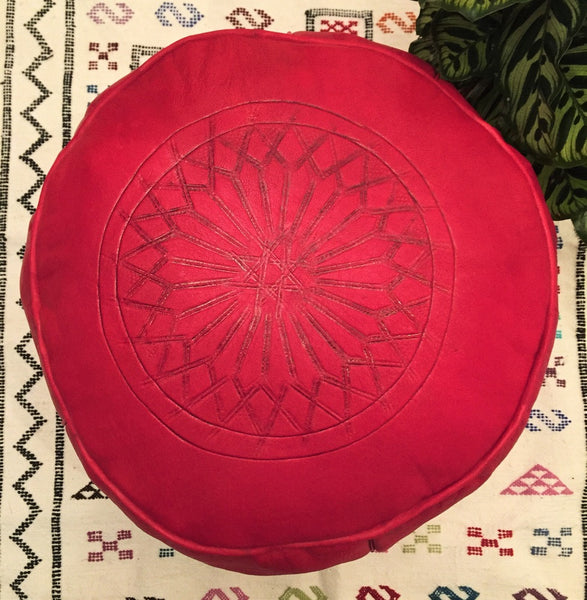 Leather Pouffe - Red