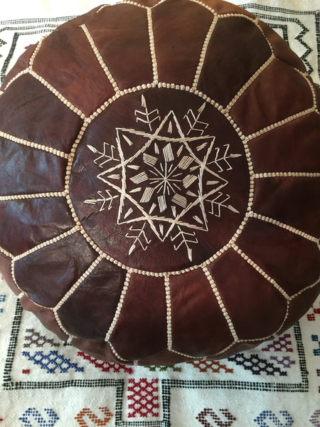 Moroccan Leather Pouffe - Dark Natural Tan