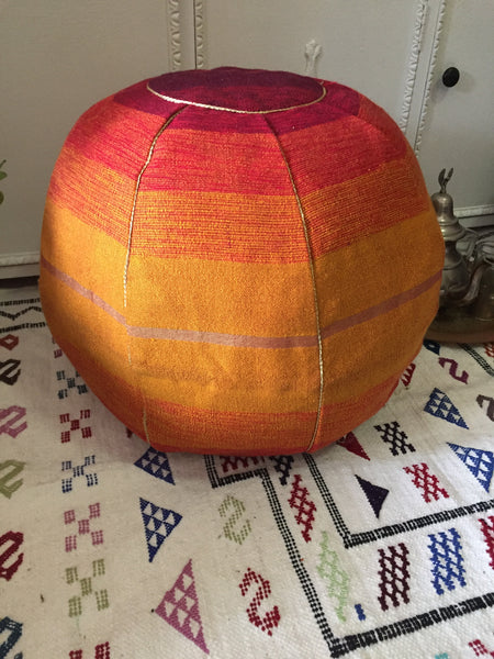 Cactus Silk Pouffe - Burnt Orange