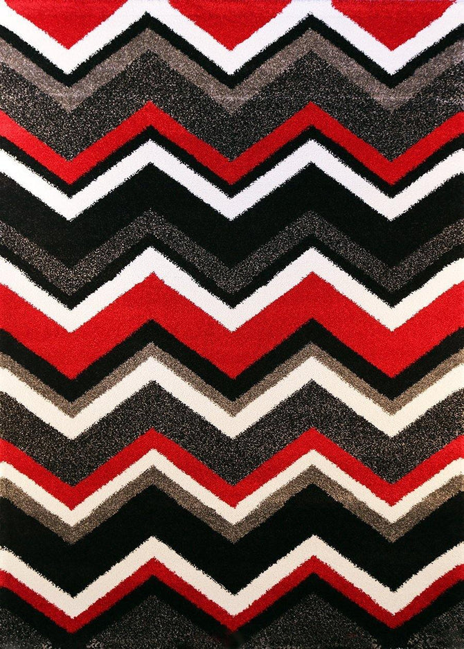 Bloom Chevron Red Black Plush Pile Rug