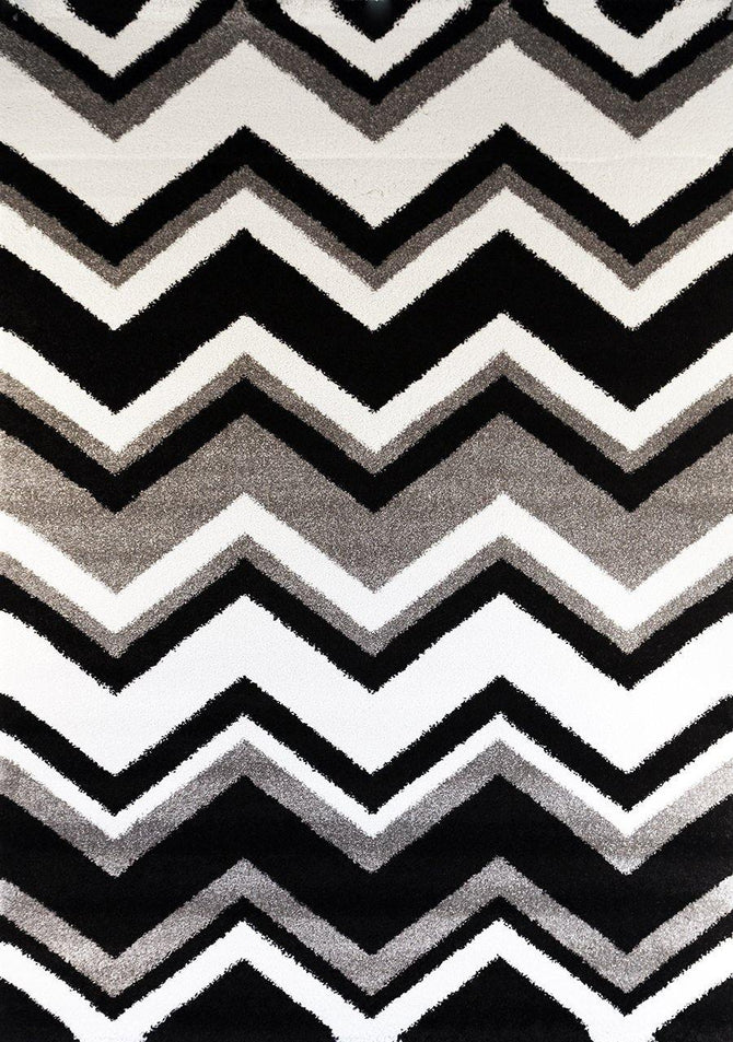 Bloom Chevron Black and White Rug
