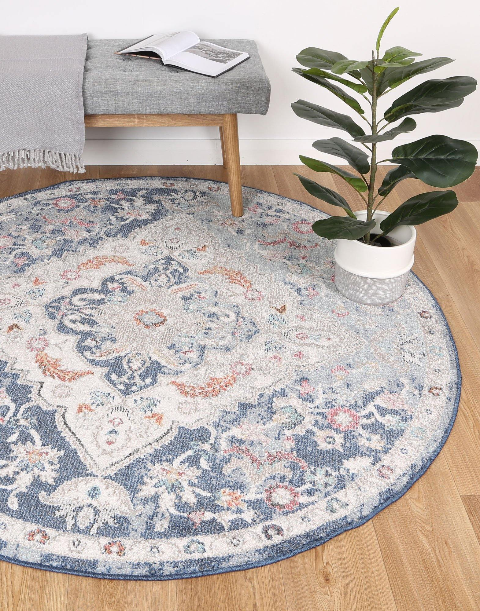 Clara Alexander Transitional Navy Multi Rug - The Rugs