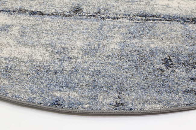 Rio Raw Blue Grey Round Rug