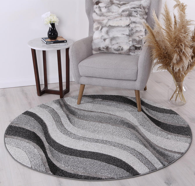 Rio Waves Grey Round Rug