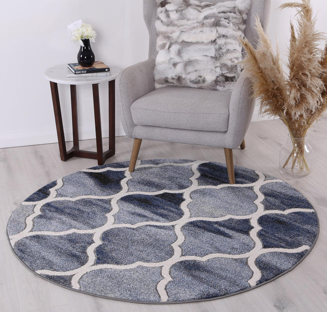Rio Lattice Blue Grey Round Rug