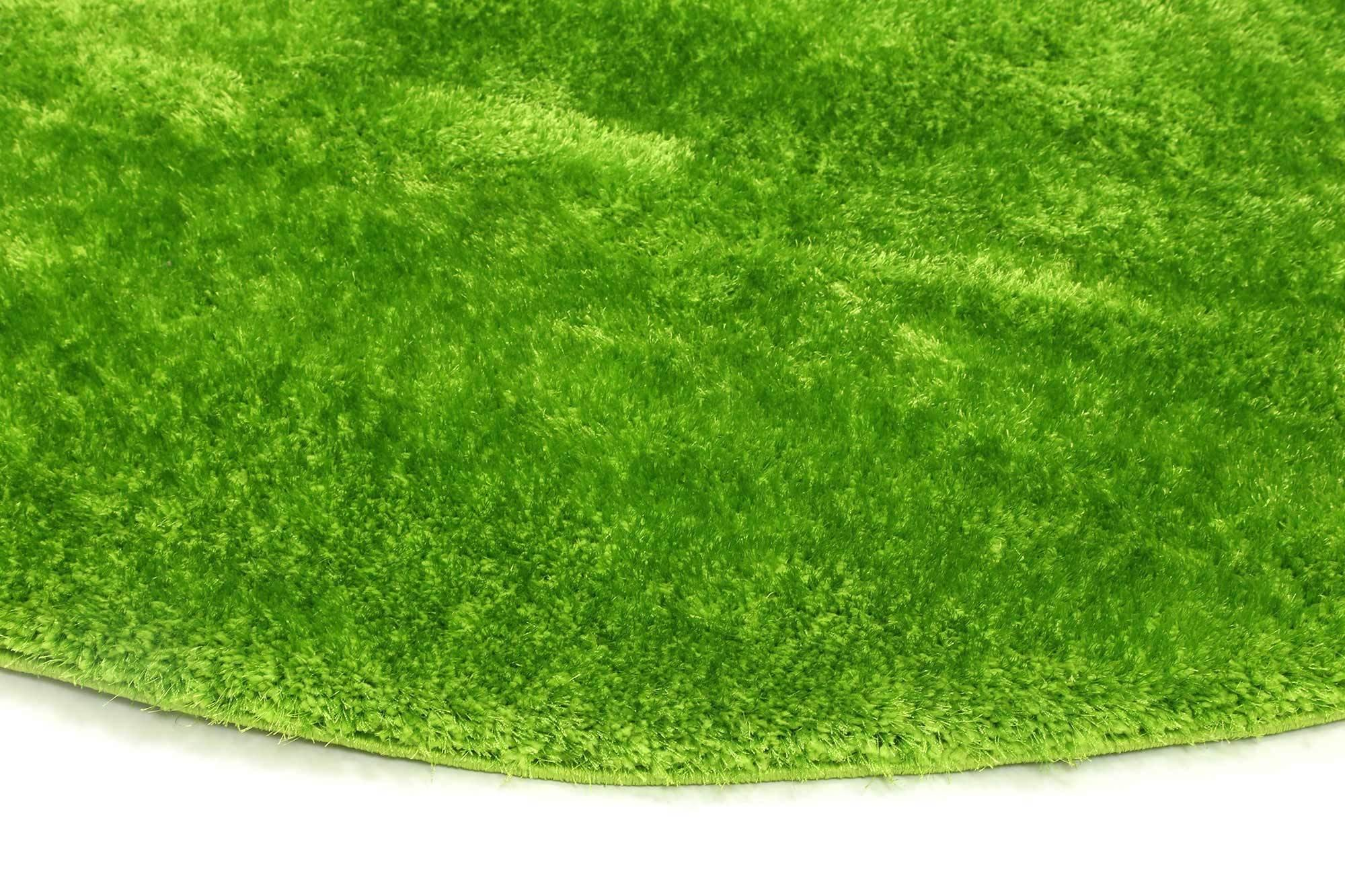 Oasis Soft Shag Round Rug Green - The Rugs