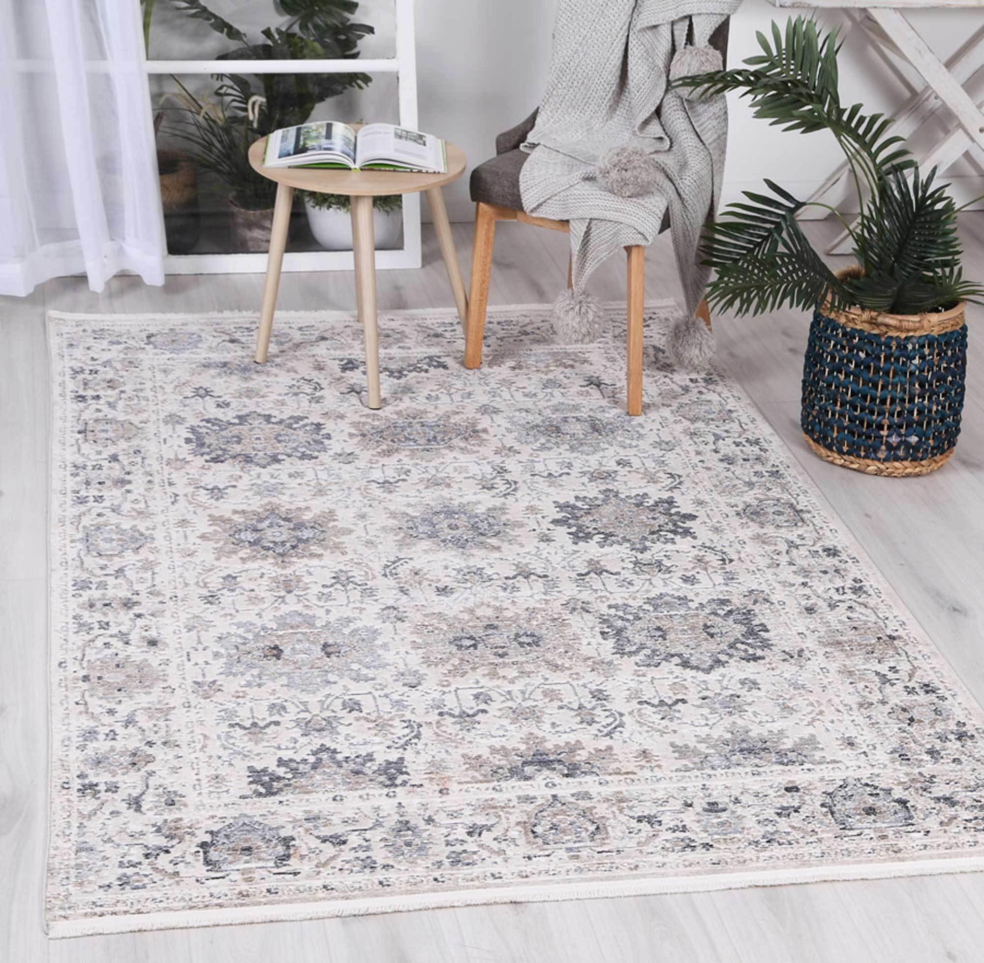 Mirage Modern Aylin Cream Blue Rug - The Rugs