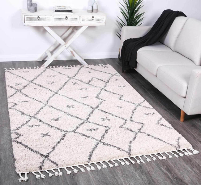 Marrakesh Mizzie Tribal Cream Grey Moroccan Rug