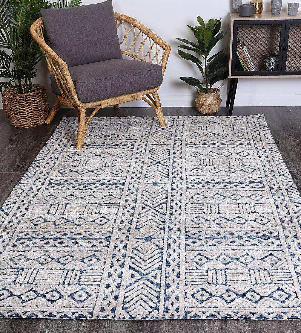 Skylar Tribal Blue Rug - The Rugs