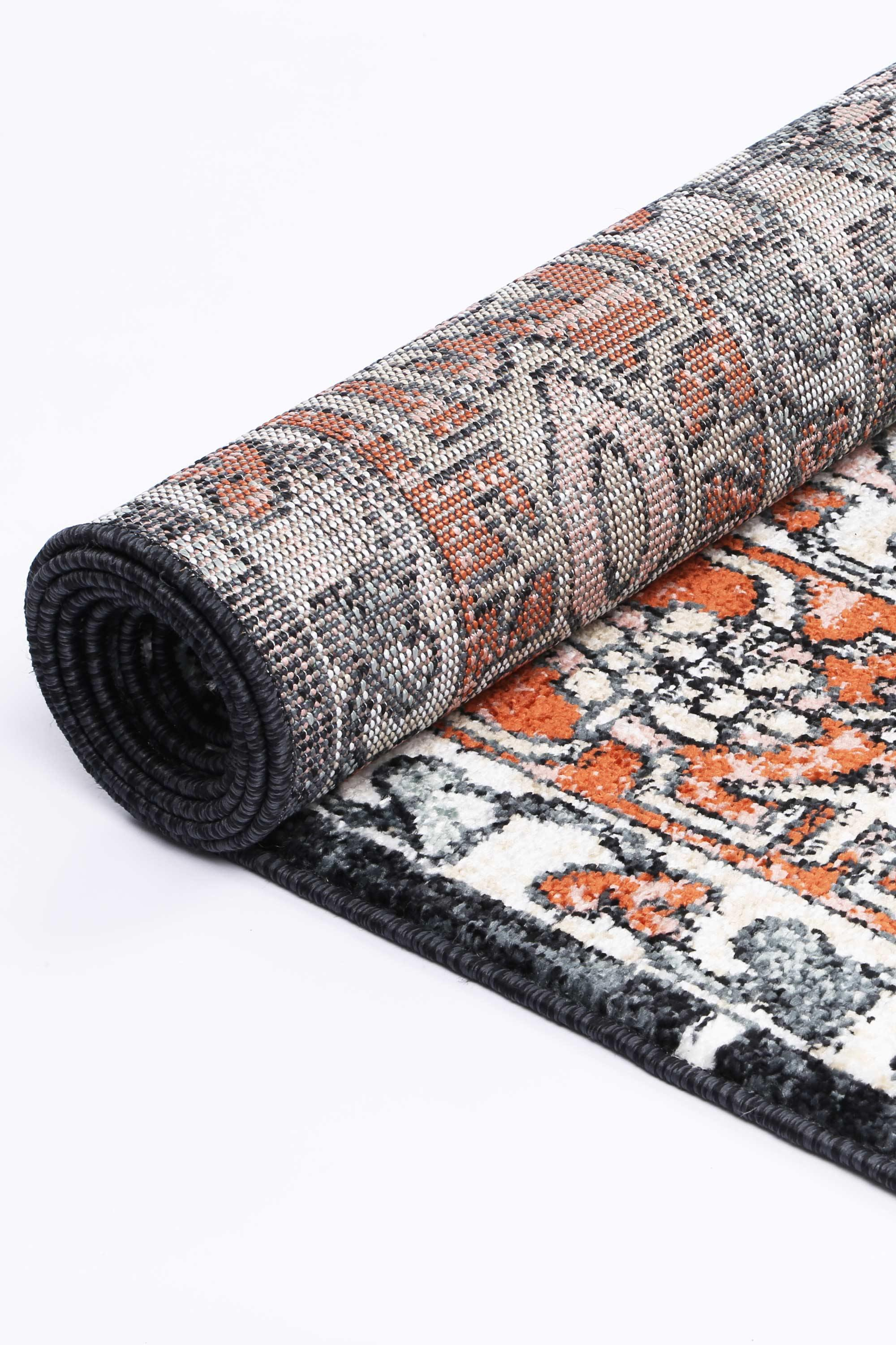 Abbot Traditional Terracotta Black Rug - The Rugs