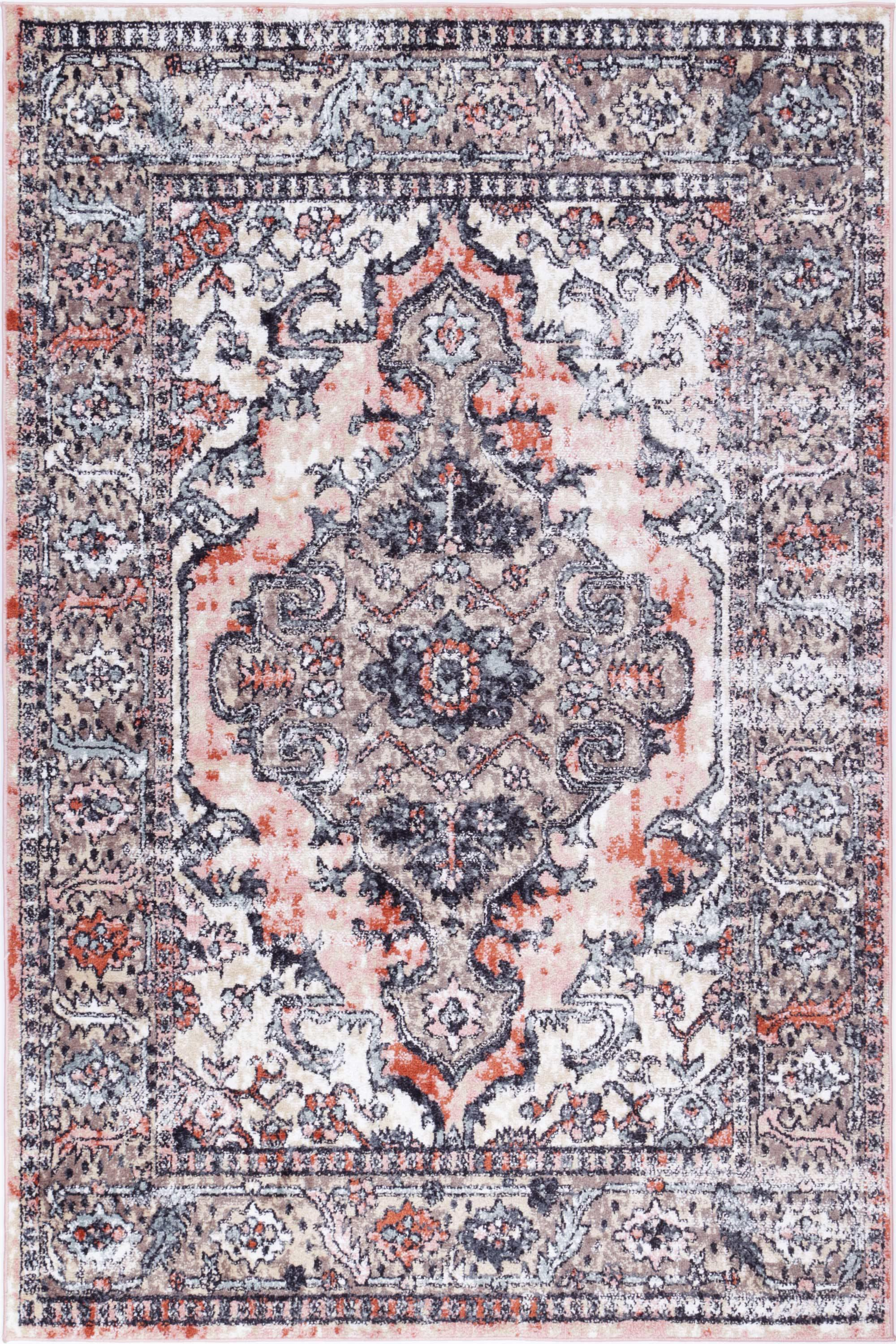 Abbot Traditional Terracotta Cream Rug - The Rugs