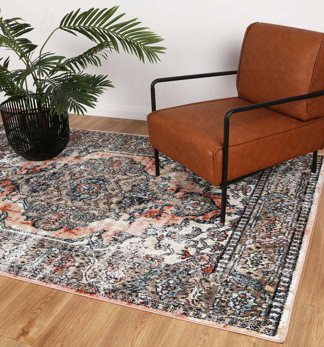 Abbot Traditional Terracotta Cream Rug