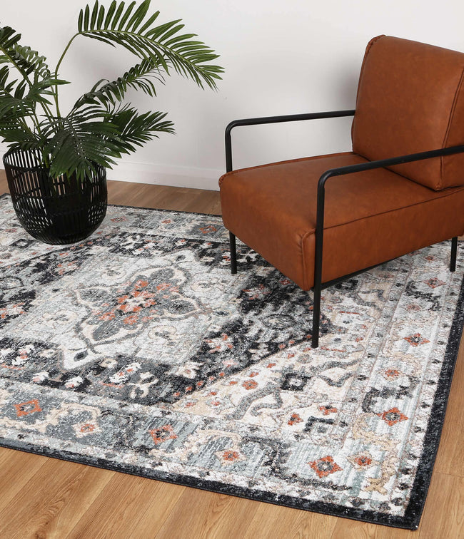 Abbot Traditional Blue Charcoal Rug