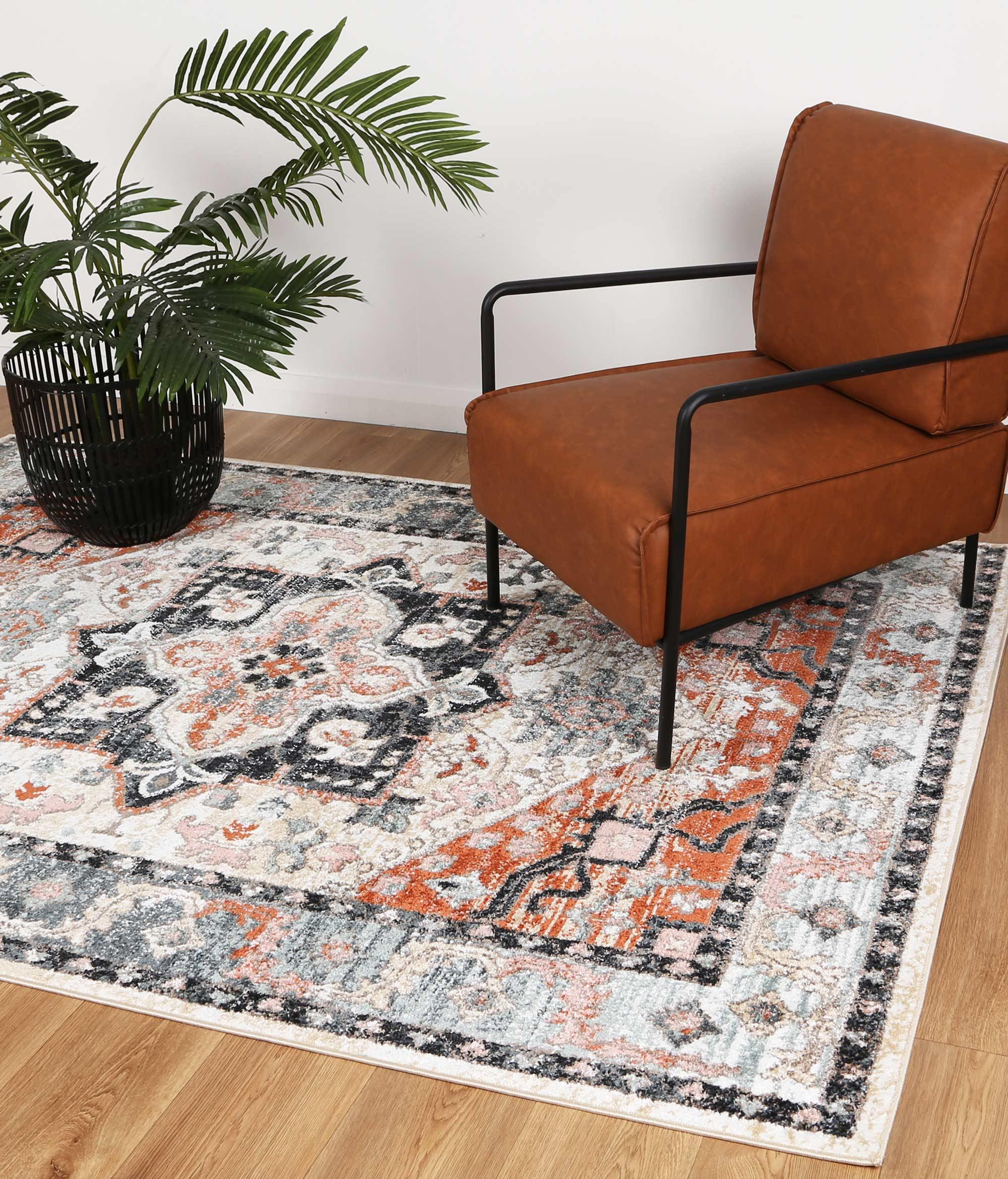 Abbot Traditional Terracotta Charcoal Rug - The Rugs