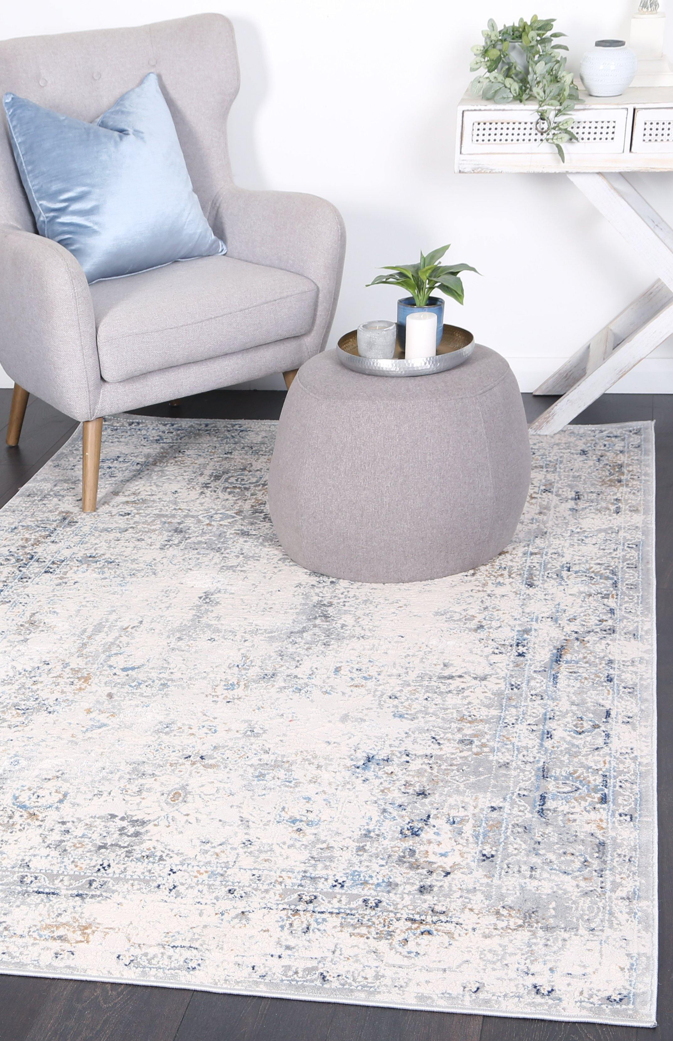 Anastasia Navy Blue Contemporary Rug - The Rugs