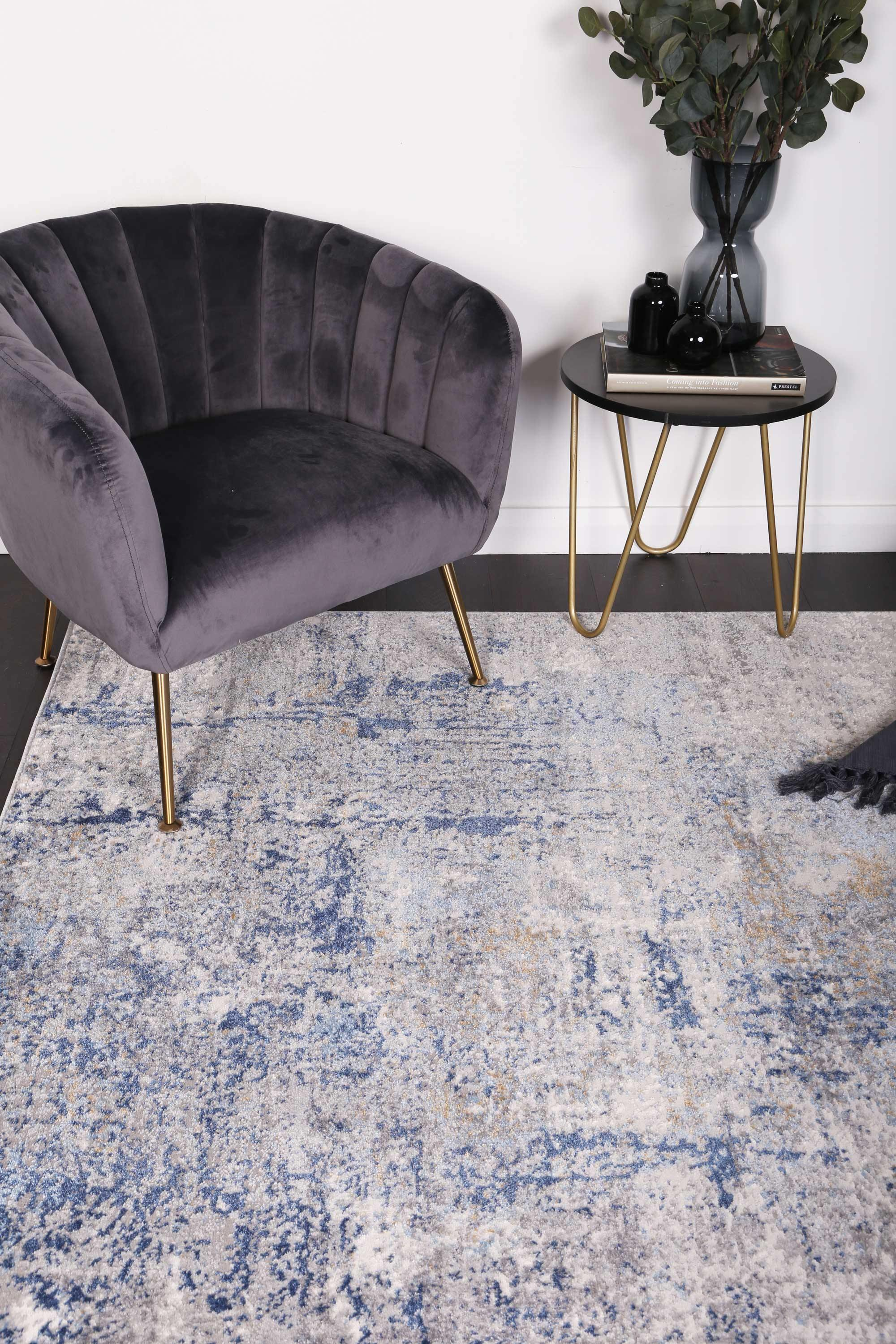 Anastasia Navy Blue Modern Rug - The Rugs