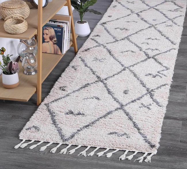 Marrakesh Mizzie Tribal Cream Grey Runner Moroccan Rug