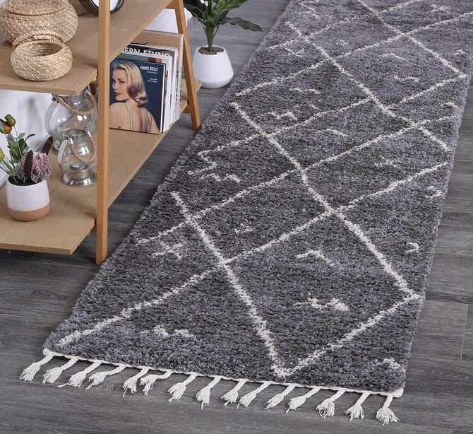 Marrakesh Mizzie Tribal Grey Cream Runner Moroccan Rug