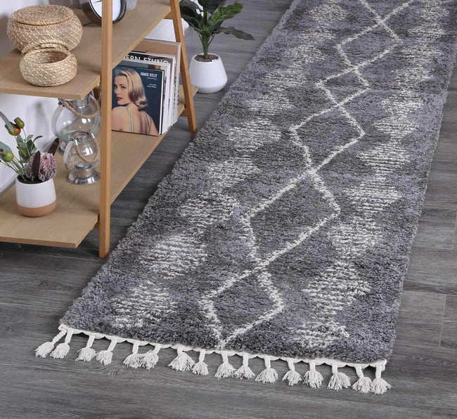 Marrakesh Zara Tribal Grey Cream Runner Moroccan Rug