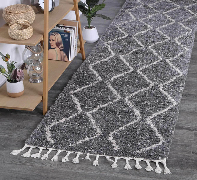 Marrakesh Levi Fleck Tribal Grey Runner Moroccan Rug