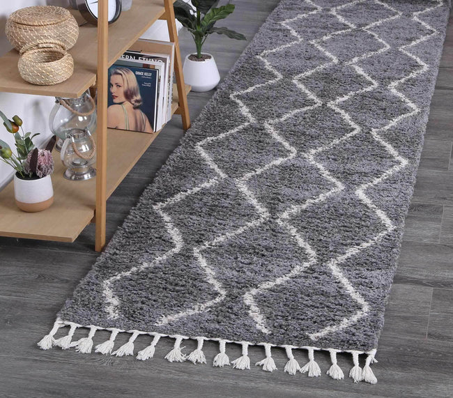 Marrakesh Levi Tribal Grey Runner Moroccan Rug