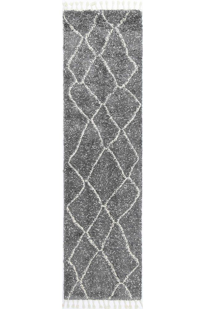 Marrakesh Maxen Tribal Grey Runner Moroccan Rug - The Rugs