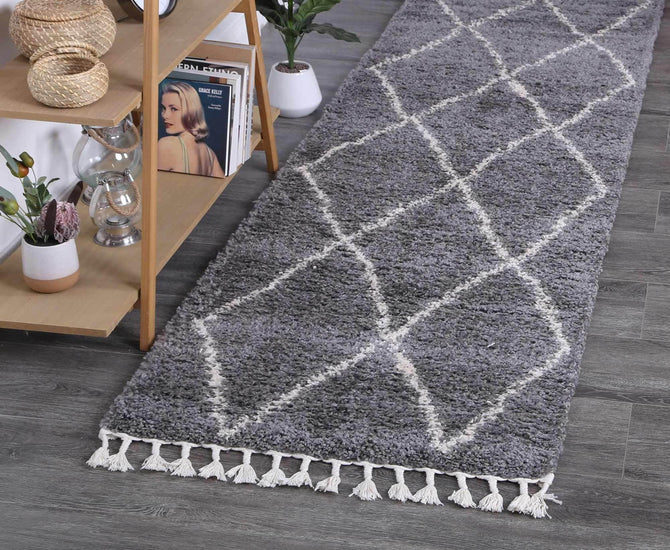 Marrakesh Clara Diamond Tribal Grey Runner Moroccan Rug