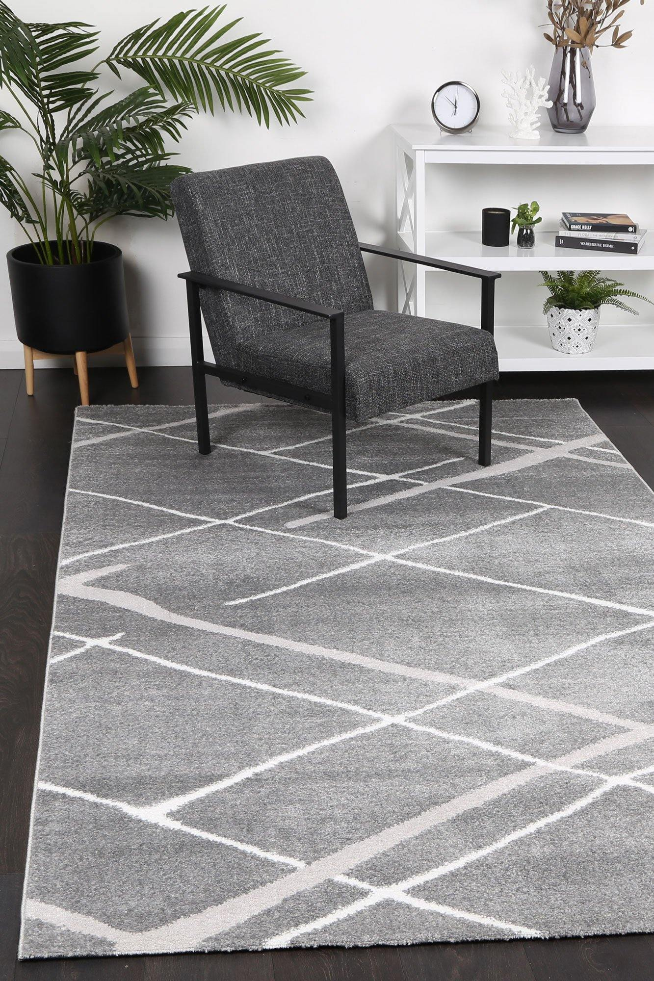 Layla Abstract Stripe Grey Rug - The Rugs